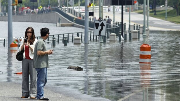 People view Mississippi River floodwaters on Sunday, May 8, 2011, in Memphis, Tenn.