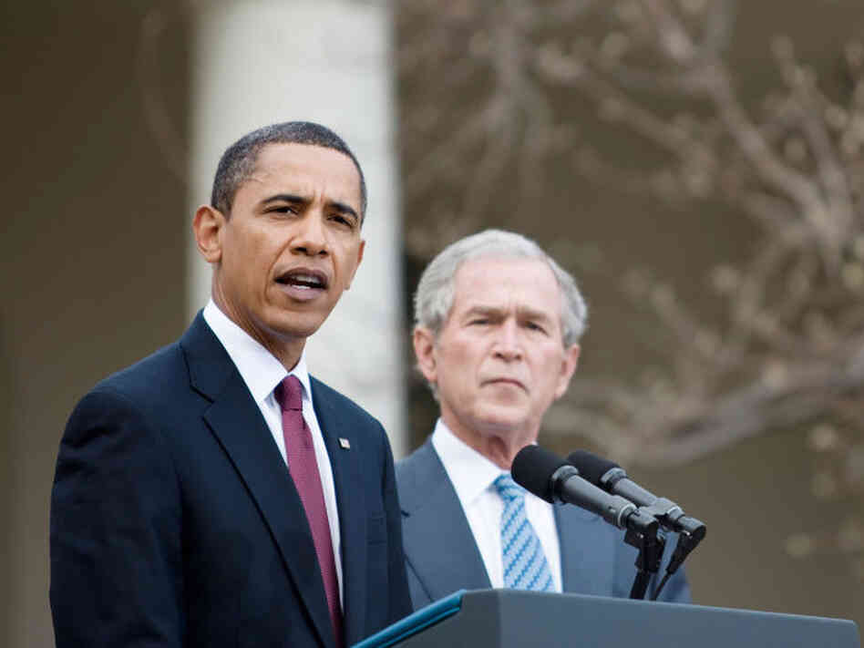President Obama speaks about the efforts to coordinate American charitable aid to the   earthquake victims in Haiti as former Presidents George W. Bush and Bill Clinton (not pictured) listen in the Rose Garden of the White House Jan. 16, 2010.