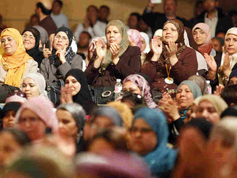 Tunisian women listen to Hammadi Jebali, secretary general of Ennahda, Tunisia's largest Islamic movement during a meeting in Tunis, Tunisia, on April 17. Political parties like Ennahda were once banned under dictator Zine El Abidine Ben Ali's rule.