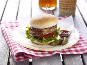 A Jenny Craig turkey burger lunch.