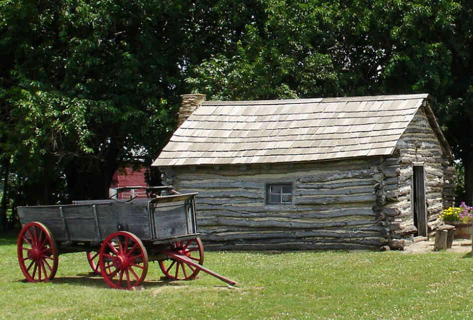 This reconstruction of the log cabin that Laura Ingalls Wilder lived in with her family in Independence, Kan., is based on descriptions from The Little House on the Prairie.