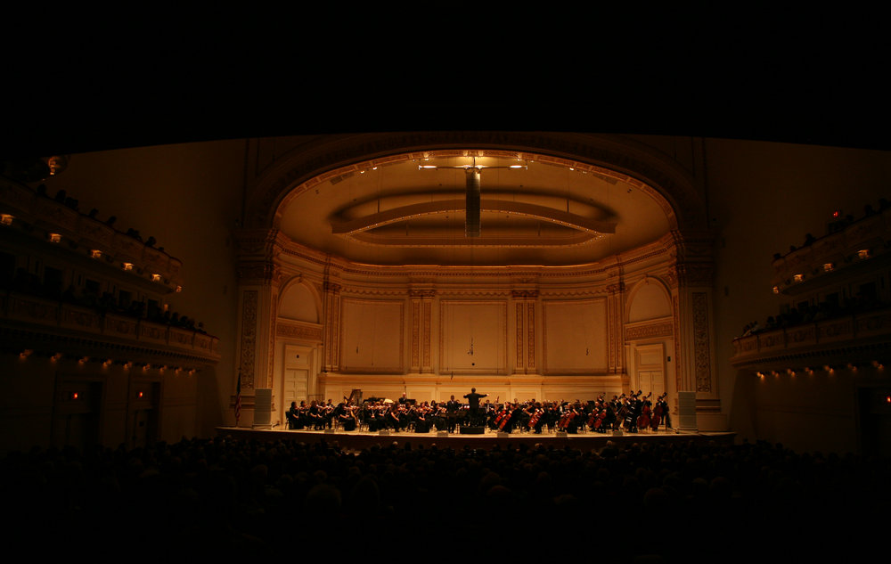 A view from the back of the famed Issac Stern Auditorium, as David Alan Miller leads the Albany Symphony at the Spring for Music festival at Carnegie Hall.