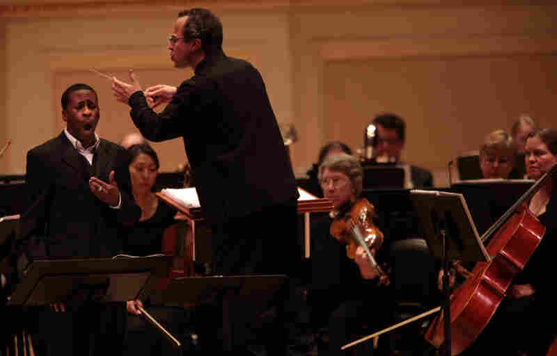 """American baritone Nathan De'Shon Myers performs songs from """"The Spirituals Project"""" with the Albany Symphony, conducted by  David Alan Miller at the Spring for Music festival at Carnegie Hall in Manhattan, New York on May 10, 2011."""