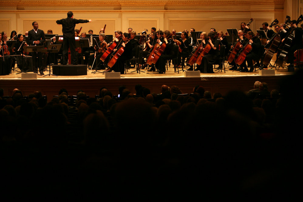 David Alan Miller leads the Albany Symphony Orchestra, along with baritone Nathan De'Shon Myers at the Spring for Music festival at Carnegie Hall.