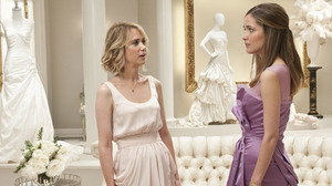 Wiig and Byrne square off in a bridal shop, minutes before an unfortunate food poisoning episode.