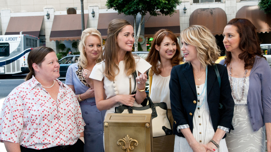 Melissa McCarthy (from left), Wendi McLendon-Covey, Rose Byrne, Ellie Kemper and Kristen Wiig play bridesmaids in Maya Rudolph's wedding. David Edelstein says the movie is a terrific vehicle for Wiig. (Universal Pictures)
