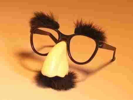 Classic glasses and nose disguise.