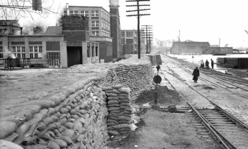 A makeshift levee protected the city of Memphis during the 1937 flooding, when the Mississippi crested at a record 48.7 feet. By official estimates, 385 people died and 1 million others were left homeless in a flood that rivaled 1927 in loss of life and property.