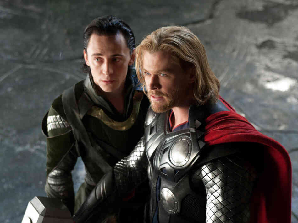 This is an educational experience, whether they realize it or not: Tom Hiddleston as Loki (left) and Chris Hemsworth as Thor.