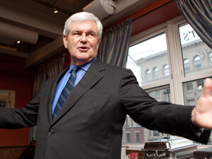 Republican presidential hopeful Newt Gingrich speaks at the New Hampshire Republican Party's 'Live Free or Die Speaker Series. Gingrich is expected to announce his candidacy on Wednesday.