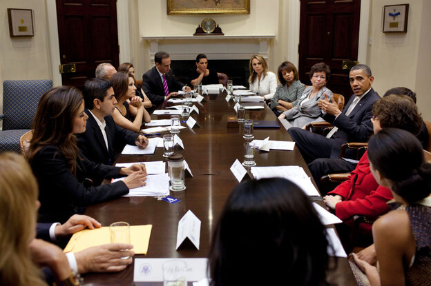 President Obama discusses immigration reform with a group of influential Hispanics at the White House, April 28, 2011.