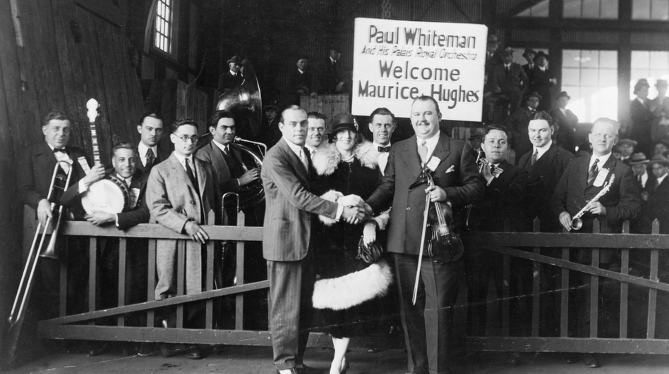 """Paul Whiteman and his Palais Royal Orchestra, who appear on a 1924 recording of George Gershwin's """"Rhapsody in Blue"""" with the composer at the piano. The recording is part of the new """"National Jukebox"""" from the Library of Congress. (Prints and Photographs Division)"""
