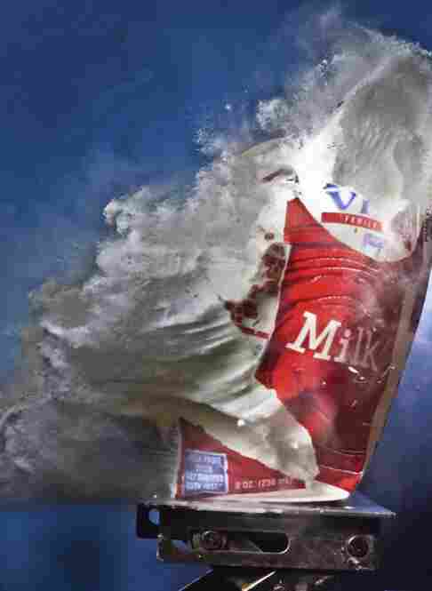 """Vitamin D Struction: """"A very fast super ball hits a carton of vitamin D-fortified whole milk. A 240 mph super ball."""""""