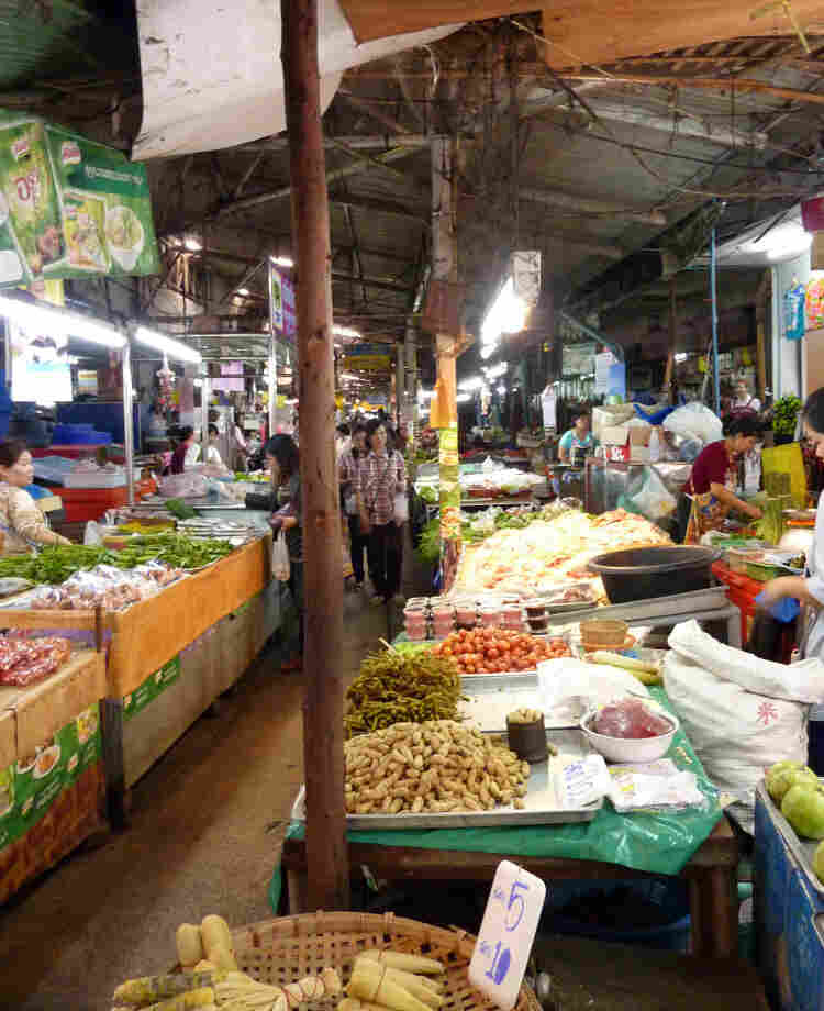 A market in the old city of Chiang Mai, Thailand