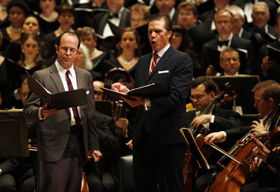 Tenor Vale Rideout (left) sings the role of defense secretary Robert McNamara and Baritone Rod Gilfry (right) portrays President Johnson at the Spring for Music festival at Carnegie Hall.