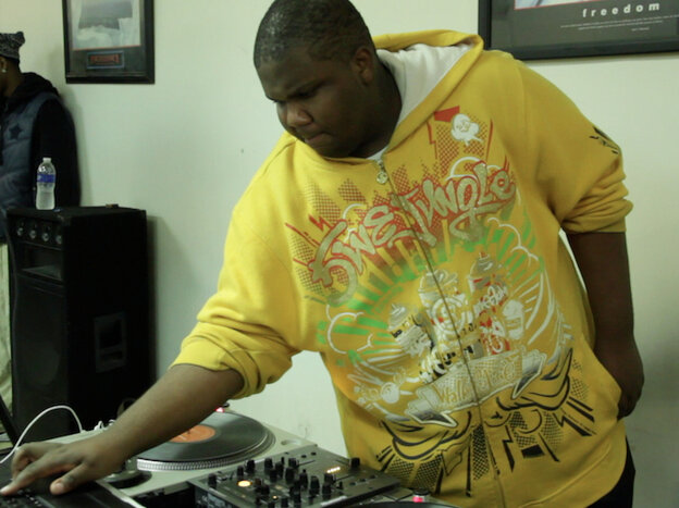 DJ Earl performs at The Underground Track Factory on Chicago's South Side.