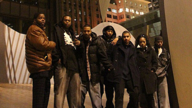 From left to  right, DJ Clent, Bobby Skillz, DJ Rashad, DJ Spinn, Gantman, Patricia  from Bang the Box and Traxman in front of the Picasso statue in Chicago.