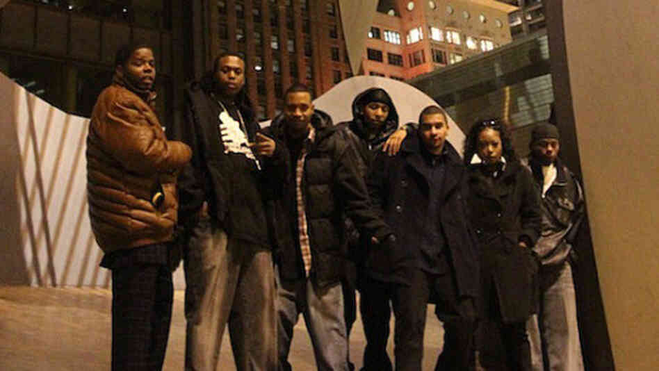 From left to  right, DJ Clent, Bobby Skillz, DJ Rashad, DJ Spinn, Gantman, Patricia  from B