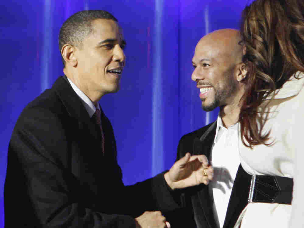 President Obama greets rapper Common at the National Christmas Tree Lighting Ceremony in Washington, Dec. 3, 2009.