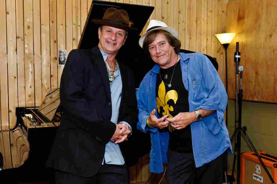 Paul Sanchez (left) and Colman deKay pose during the recording of Nine Lives.