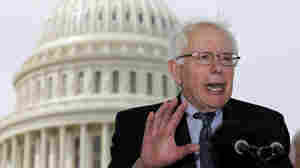 Vermont Sen. Bernie Sanders holds forth on health care at briefing outside the U.S. Capitol