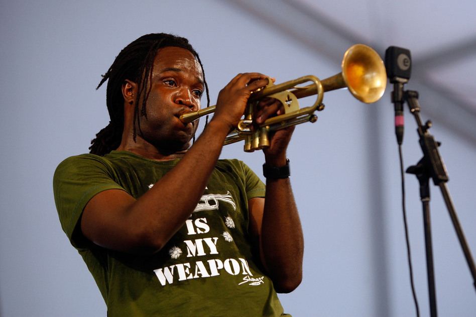 Trumpeter Shamarr Allen, who has recorded both as a leader and sideman for Threadhead Records-funded projects, plays at the 2009 New Orleans Jazz & Heritage Festival. (Chris Graythen/Getty Images)