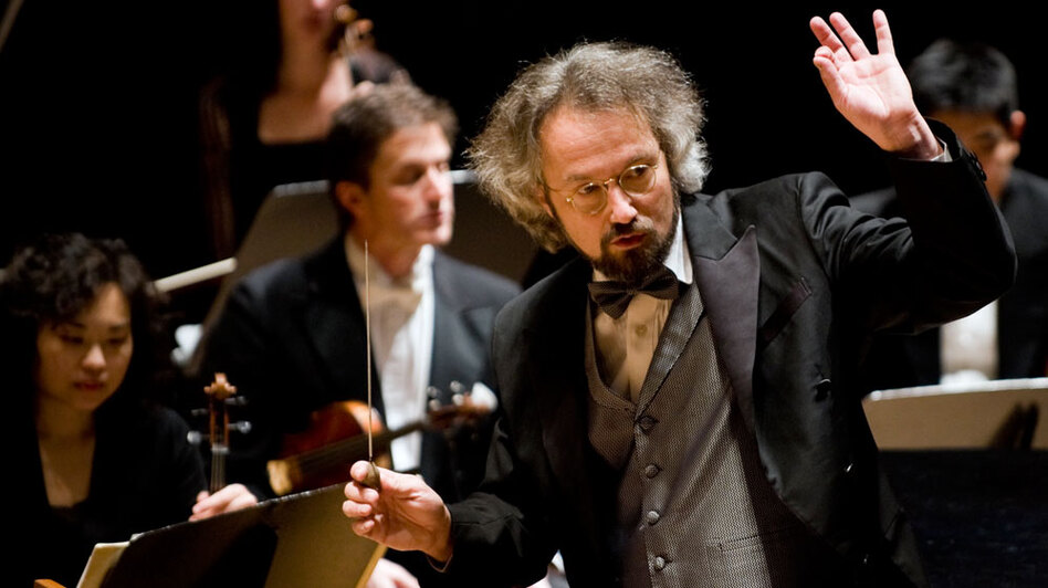 Conductor Carlos Kalmar leads the Oregon Symphony in music inspired by war.