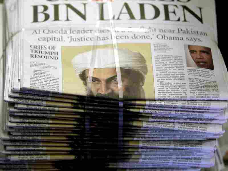 """A bundle of Los Angeles Times newspapers reads: """"Justice has been done,"""" with a photo of Osama bin Laden. The Sept. 11 mastermind was killed last week."""