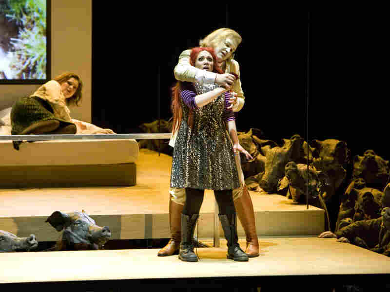 Salome (Carmen Giannattasio) threatened in Massenet's 'Hérodiade.'