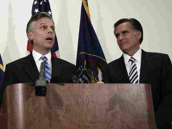 Former Utah Gov. Jon Huntsman and former Republican presidential hopeful and former Massachusetts Gov. Mitt Romney speak to the media in Salt Lake City, Utah. Both men are part of the Mormon faith.