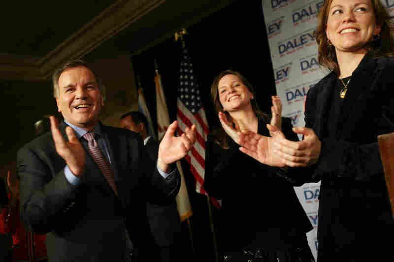 Daley celebrates with daughters Elizabeth (center) and Nora after winning a record sixth term as mayor of Chicago in February 2007. Daley, one of the most powerful mayors in recent American history, announced last fall that he would not seek a seventh term.