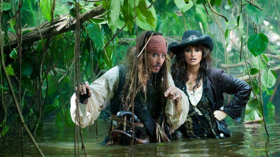 <strong>Princess Of 'Tides':</strong> Penelope Cruz (right, wearing less eyeliner) joins Johnny Depp for a fourth <em>Pirates of the Caribbean</em> adventure.