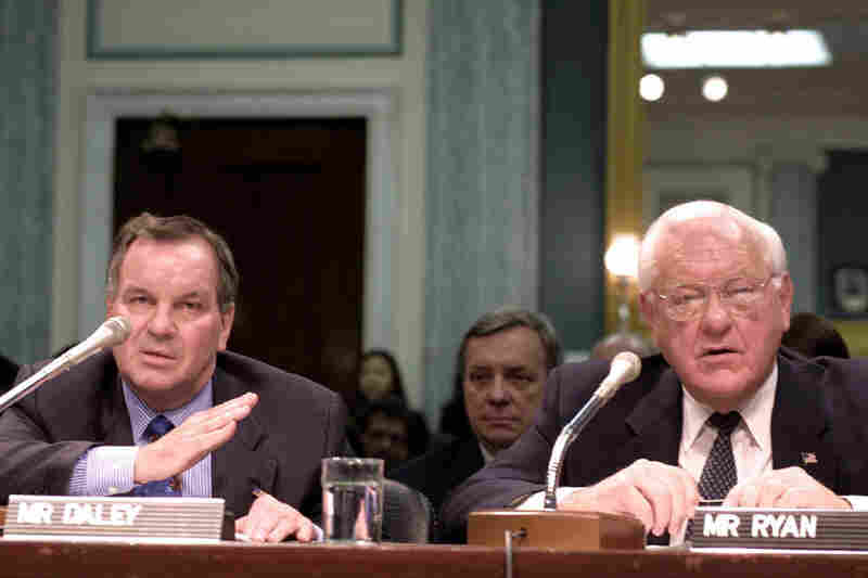 Daley (left) testifies on Capitol Hill in March 2002, during a Senate Commerce Committee hearing on the expansion of O'Hare International Airport. Then-Illinois Gov. George Ryan (right) and Sen. Richard Durbin (D-IL, center) look on.