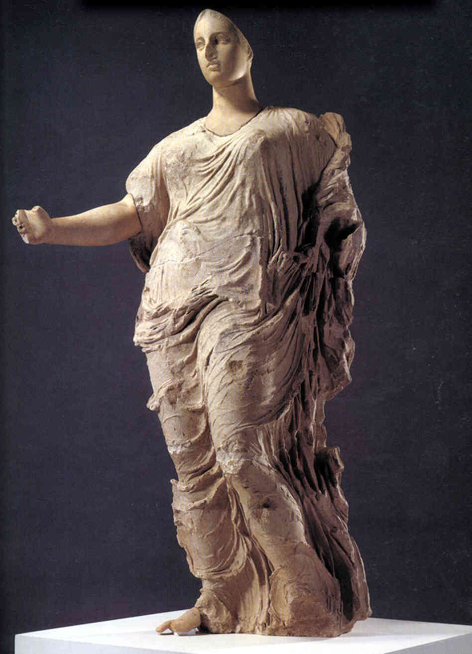 This 4th century B.C. stone sculpture of Aphrodite, goddess of love, was illegally excavated from Sicily. The Getty Museum purchased it in 1988. In 2007, the Getty agreed to return it — along with 40 other disputed artifacts — to the Italian government. The goddess will be officially installed at her new home — a small museum in Sicily — on Tuesday.