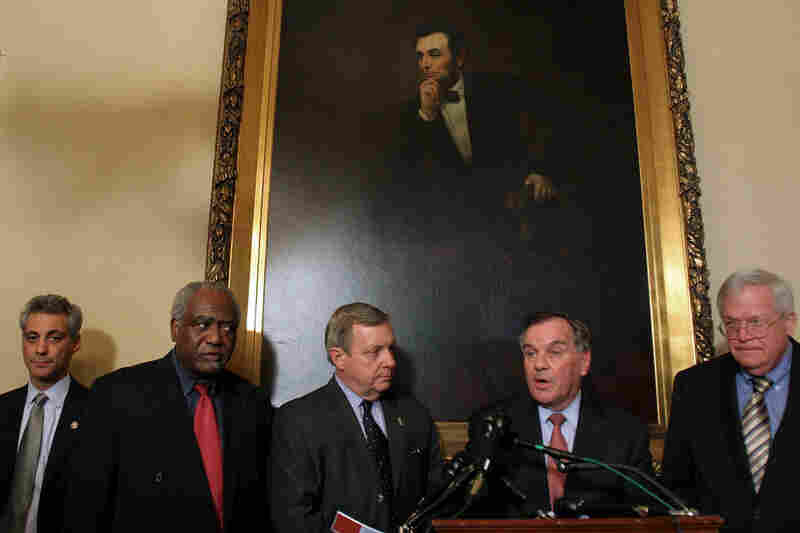 Then-Illinois Rep. Rahm Emanuel (far left) joins the mayor (second from right) and other Illinois lawmakers (from left: Rep. Danny Davis, Sen. Dick Durbin and Rep. Dennis Hastert) to discuss Chicago's Olympic bid in April 2007 on Capitol Hill. Emanuel will succeed Daley on May 16.