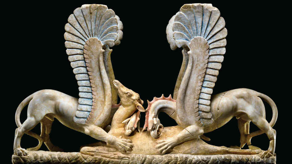 A marble sculpture from the 4th century B.C. shows winged griffins attacking a fallen doe. It was purchased by the Getty Museum in 1985. A decade later, authorities seized Polaroid photos from the warehouse of a well-known antiquities middleman, who admitted the sculpture had been looted from ruins in Italy. Click here to see those Polaroids.