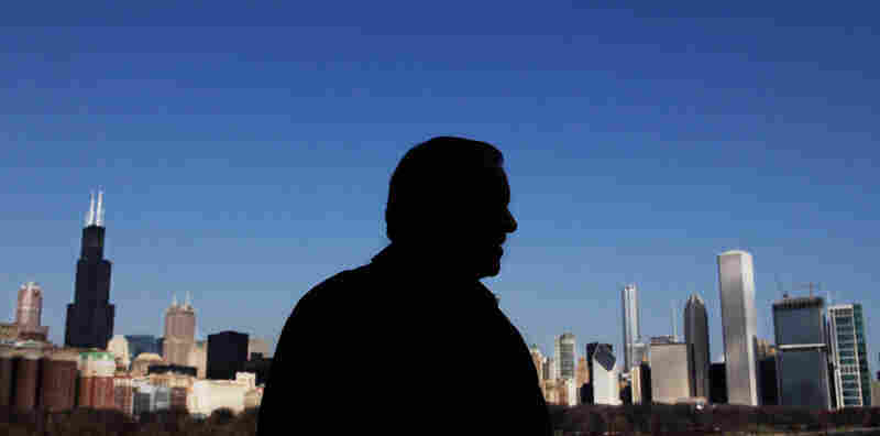 Daley is silhouetted against the Chicago skyline in this March 2009 portrait.