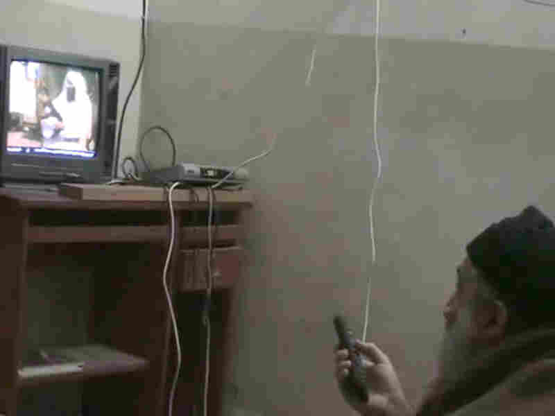 A still image from video footage released by the U.S. Department of Defense shows Osama bin Laden watching himself on TV.