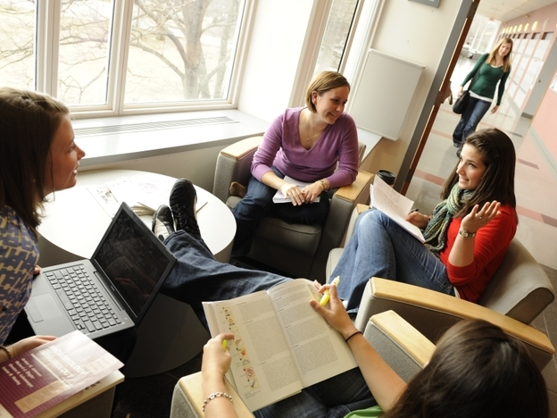 Students at the University of New England's Jack S. Ketchum Library in Biddeford, Maine.