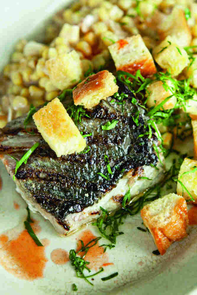 Bluefish with Creamed Corn