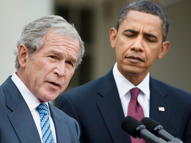President Barack Obama listens as former president George W. Bush speaks in January.