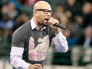 Rapper Common performs at President Barack Obama's 'Moving America Forward' Rally October 31, 2010 in Cleveland, Ohio. The president recently came under fire for inviting Common to perform at the White House's poetry night.