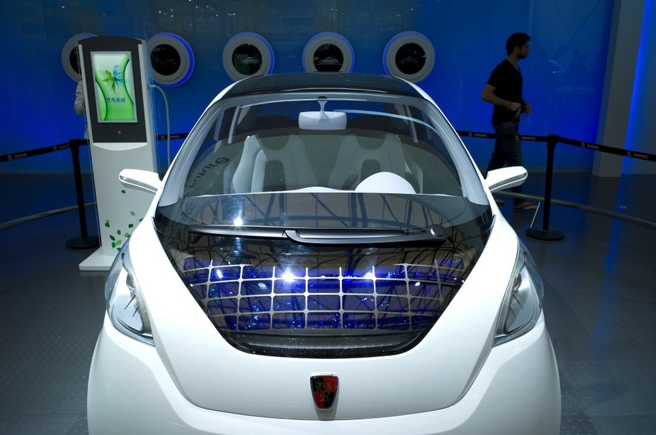 Green car technology is still in its infancy in China, and there's little uniformity in the way of infrastructure to support the vehicles, like this concept car with solar panels, made by Roewe, seen at the Shanghai auto show.