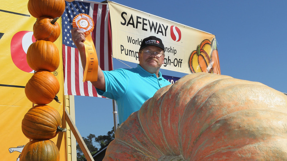 True to its small town feel, Half Moon Bay hosts the 37th Annual Safeway World Championship Pumpkin Weigh-Off. Here, Ron Root of Citrus Heights, Calif., celebrates winning first place — with his 1,535-pound pumpkin.