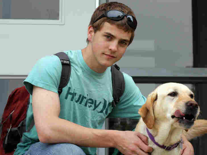 Nathan Selove relies on his service dog, Sylvia, to help him  deal with meltdowns and other issues related to Asperger's syndrome.