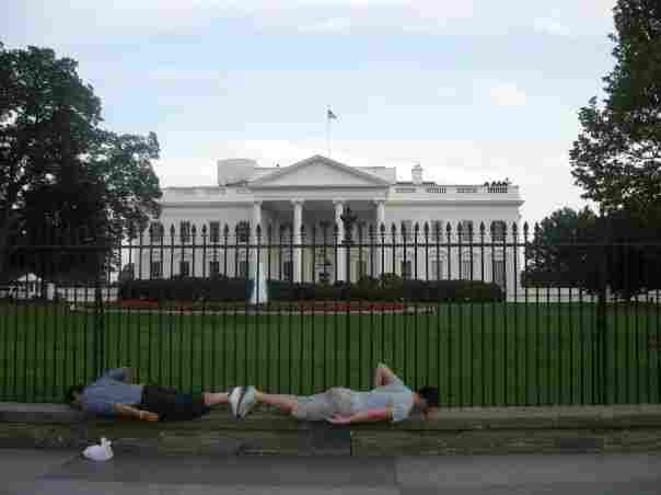 Planking in front of the White House.
