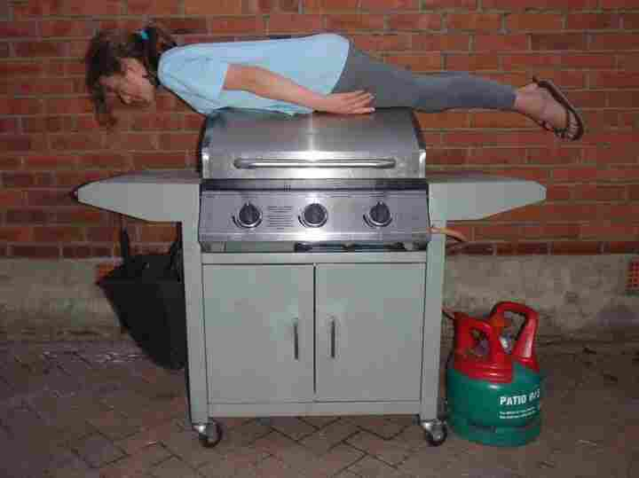Planking on a bbq.