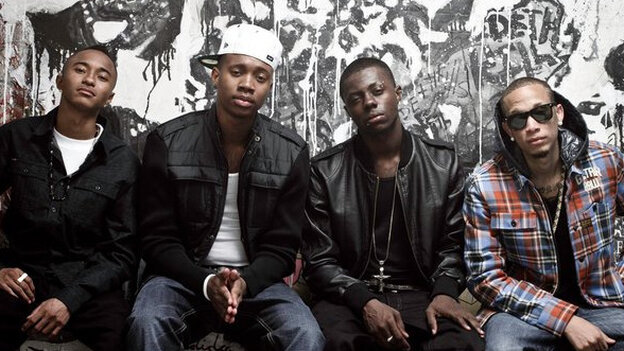 M-Bone (far right) of Cali Swag District, was killed in a drive-by shooting on Sunday night in Inglewood, Calif. The other members of the group, from left to right: Jay Are, C Smoove and Yung.