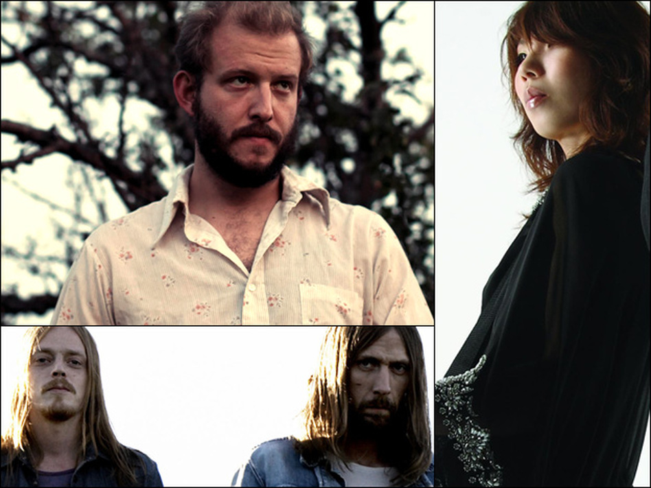 Clockwise from upper left: Bon Iver, Boris, Graveyard.