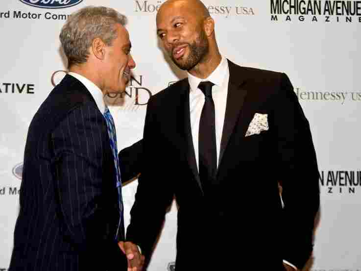 Rapper Common and Chicago Mayor-Elect Rahm Emanuel attend a fundraiser in Chicago. Common's invitation to a White House poetry night caused a stir last week.